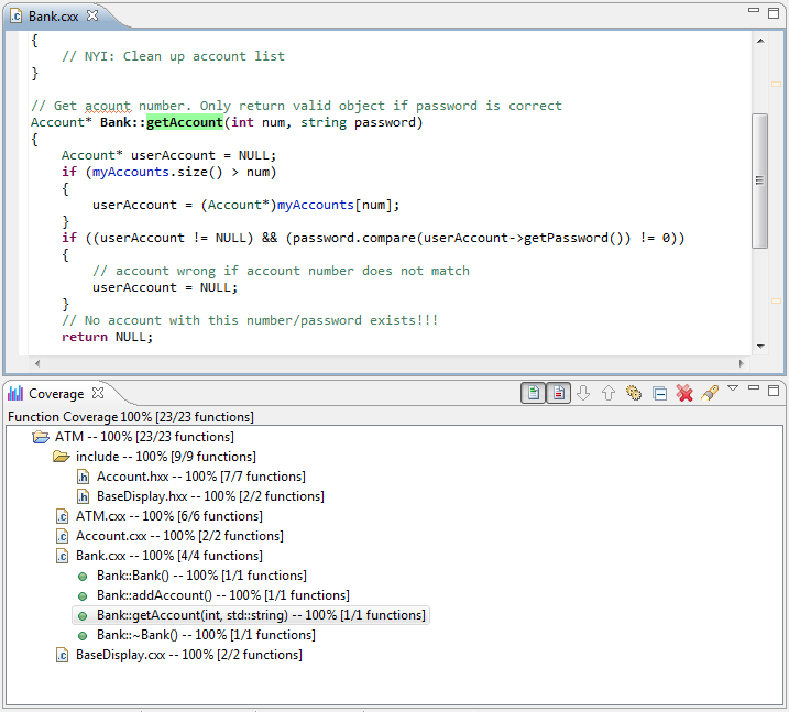Reviewing Coverage Information - Parasoft C++test 10 3 3