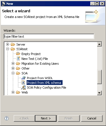 Creating Tests From XML Schema - SOAtest and Virtualize 9 10