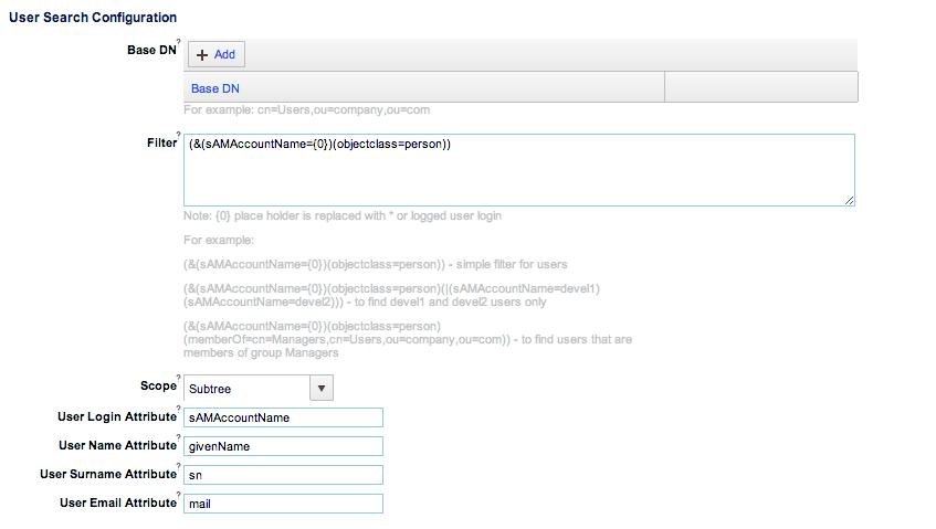 Advanced LDAP Configuration - Parasoft DTP 5 3 1 - Parasoft